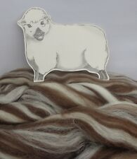 BROWN / WHITE HUMBUG CORRIEDALE wool tops / roving / needle felting fibre 50g