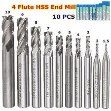 10X HSS CNC Straight Shank 4 Flauto End Mill Fresa Cutter Drill Bit 1.5mm-10mm