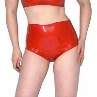 hoher LATEX SLIP * rote Panty Hotpants* Gr. S-M * rubber Gummi Latexslip ouvert