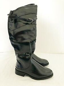 New Girls Chix Black Faux Patent Leather Zip Up Calf Length Riding Boot UK Sizes