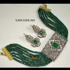 South Indian Kundan Green Onyx CZ Necklace Earring Set Women Fashion Jewelry