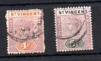St Vincent 1899 4d & 5d SG71-72 fine used WS19159