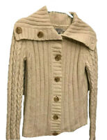 Heavyweight Cable-Knit OLD NAVY Button-Down Lambs Wool/Rabbit Hair Sweater Small