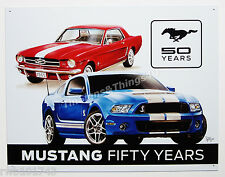 Ford Mustang Fifty Years TIN SIGN shelby vtg GT-500 metal garage wall decor 1993