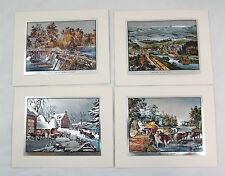 Vintage Currier and Ives Nostalgic America Foil Etch Print Set 249-119 4 Prints