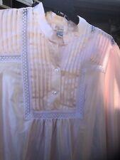 NOSWT Ilise Stevens Long Nightgown Medium White Pink Short Sleeved Slip Over Lingerie Polyester Cotton Vintage 70s 80s Sleepwear Deadstock