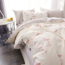 INS pink flamingo cotton bedsheet duvet pillow quilt cover