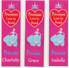 3 CHILDRENS PERSONALISED BOOKMARKS,PRINCESSES LOVE TO READ.18cm x5cm laminated