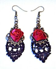 GOTHIC BLACK LACE EARRINGS WITH RED SATIN ROSES steampunk vampire Victorian M4
