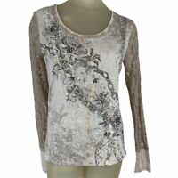Miss me woman's rhinestone embellished knit shirt top lace beige Size Medium