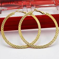 NEW PAIR OF 6cm GOLD PLATED HOOP EARRINGS LARGE CIRCLE CREOLE CHIC HOOPS GIFT UK