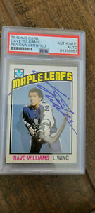 1976-77 OPC SIGNED AUTO ROOKIE CARD DAVE TIGER WILLIAMS MAPLE LEAFS PSA DNA 373