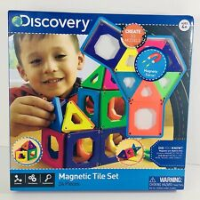 Discovery Kids Magnetic Tile Set 24 Pieces Build Create Structures 3D Models New
