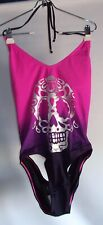 Hot Topic One Piece Swimsuit XL Skull Transfer Strappy Back Pink Purple Sexy NWT