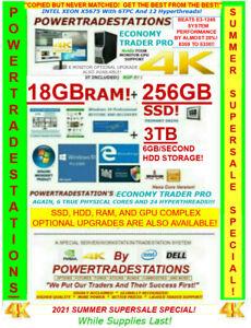 DELL 4-MONITOR TRADING COMPUTER TRUE XEON TURBO 3.46GHz 18GBRAM 256GBSSD 3TBHDD