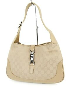 Auth GUCCI Jackie O Beige Canvas and Leather Tote Shoulder Bag Purse #38460A