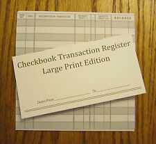 12 EASY TO READ CHECKBOOK TRANSACTION REGISTER LARGE PRINT CHECK BOOK REGISTERS