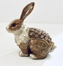 Decorative Enamel Opening Rabbit Gold Jewelry Box Encrusted w Swarovski Crystals
