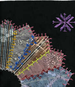 UFO Unfinished Project Japanese Fabrics Crazy Quilt Embroidered Fan Blocks + Fab