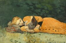 Repro Postcard: Woman Lays on Side, Reading a Book, Orange Dress - Winslow