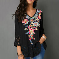 Women V Neck Floral Lace Patchwork 3/4 Sleeve Shirt Blouse Top Clever Loose