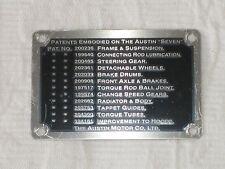 AUSTIN 7 SEVEN DASHBOARD PATENT PLATE-SMALL 1937-1939