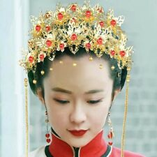 Bridal Chinese traditional gold tone red bead Flower Hair comb tiara crown RB670