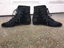 Aquazzura EMBROIDERED Black Velvet BOHO Ankle Booties SZ 38 LEATHER BOOTS