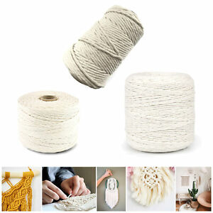 2mm 3mm 5mm Natural Craft Macrame Cotton String Artisan Thread Twisted Cord