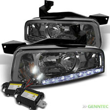 For 06-10 Charger Smk 1pc Headlights w/DRL LED+6000K Slim Ballast Xenon HID Kit