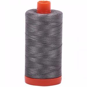 Aurifil Thread #5004 Grey Smoke Cotton Mako 50 wt 1422 yard spool