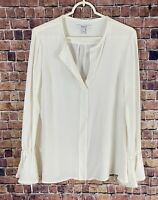 Derek Lam 10 Crosby Silk Blend V-Neck Bell-Sleeve Blouse Ivory Size 6