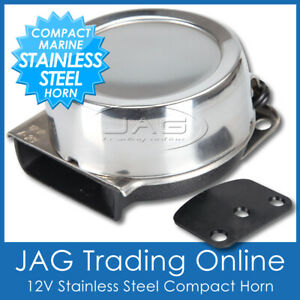 12V COMPACT ELECTRIC STAINLESS STEEL MARINE HORN - BOAT/CARAVAN/CAR/TRUCK/RV/4x4