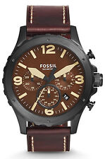 Fossil JR1502 Men's Nate Dark Brown Leather Band Brown Dial Chronograph Watch