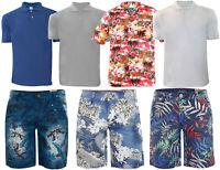 Mens Polo Tshirts Hawaiian Shirt Pique Bermuda Shorts and Plain Shirts Set New