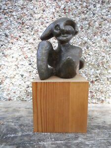 Bronze Modernist Abstract Sculpture of a Woman