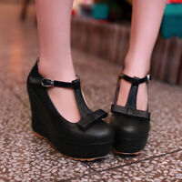 Ladies Wedge Heels T-strap Mary Jane Lolita Buckle Strappy Pumps Party Shoes NEW
