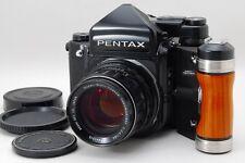 NEAR MINT  PENTAX 67 TTL Late Model + SMC T 105mm F2.4 Wood grip From JAPAN 523