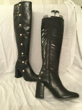 New Carvela Kurt Geiger Black Leather Over The Knee High Heel Boots Sz8UK/41EU