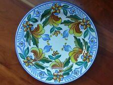 Spanish Ceramic Pottery Plate Majolica Decorative Wall Hanging Vte Martinez Blue