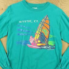 vtg 80's 90's usa made MYSTIC CT hanes long sleeve t shirt MEDIUM neon vaporwave