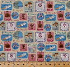 Having a Baby Maternity Pregnancy Phrases Cotton Fabric Print by Yard M707.25