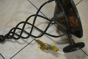 Large Sconce!Metal Flowing Circular Strips form Base & Translucent Shell Bowl