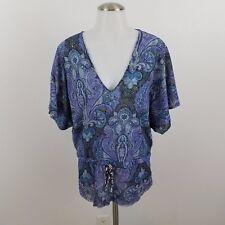 Sweet pea top blouse blue paisley purple S womens dolman v-neck tie short sleeve