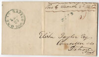 1846 Grand Rapids Michigan Stampless Cover GREEN handstamp and paid [2463.18]