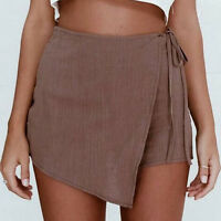 Womens Ladies Casual Skorts Skirt Short Culottes Irregular Flanging Wrap Shorts