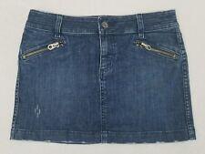 Juicy Couture Womens 29 Medium Wash Distressed Denim 33.5W 14L Mini Skirt Z1