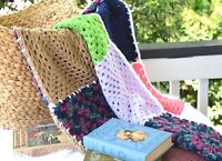 New OOAK Handmade Multi-Color Granny Square Crochet Lap Blanket Afghan Throw
