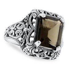 Style Filigree Ring Size 4.75, #111 Genuine Smoky Quartz .925 Silver Antique