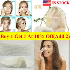 12pcs Facial Cleansing Reusable Pad Bamboo Cotton Makeup Remover Pads Face Wipes